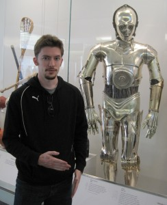 "Brian doing ""the robot"" next to C-3PO"
